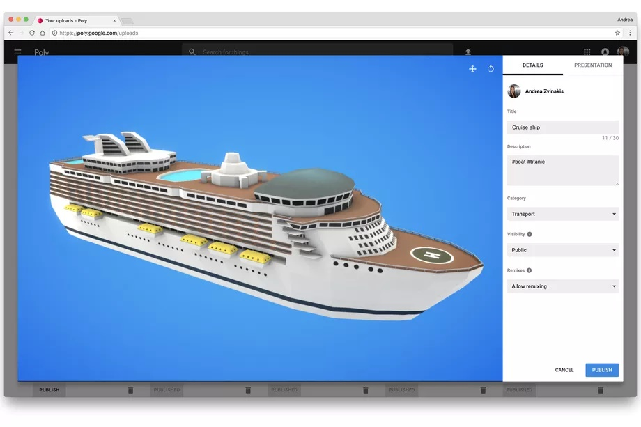 AR and VR object library